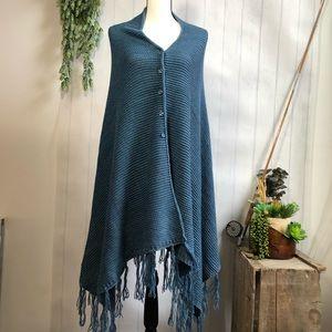 LuLaRoe Mimi Shawl Wrap Poncho Knit Button Front